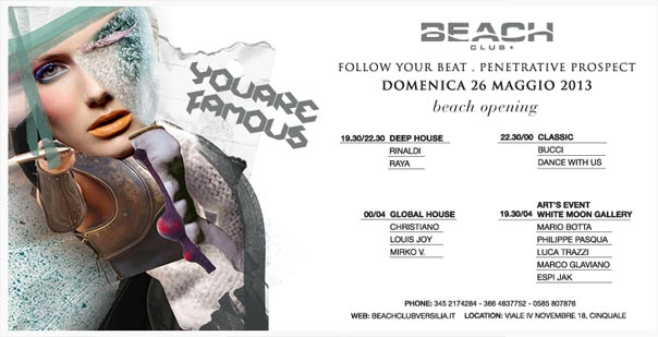 """You Are Famous"" Beach Club Versilia"